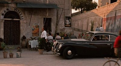 Michael Corleone arriving at Vittelis with the car