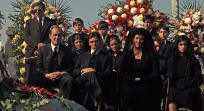 Michael Corleone with his family at the Don Barzini at Godfather funeral