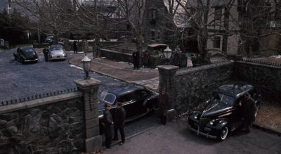 Guards blocking the gateway to the Corleone compound - movieworldmap.com
